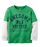Long-Sleeve Layered-Look Flocked Awesome Brother Graphic Tee