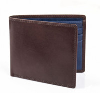 Smooth Leather Billfold Wallet with Contrast Interior