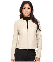 VIA SPIGA Collarless Center Zip 女士圆领真皮夹克