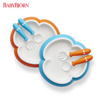 BABYBJORN 宝宝餐盘汤匙叉子套装 蓝色+橙色