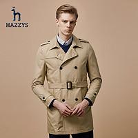 HAZZYS 男士修身双排扣战壕风衣