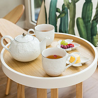 AITO 桂由美 美浓烧 浮雕陶瓷茶壶茶杯5件套
