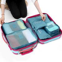 红凡 多功能旅行收纳袋六件套装行李箱整理袋衣服旅游出差衣物内衣收纳包 湖水蓝 *6件