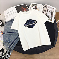OMI 欧米 夏季纯棉卡通印花圆领短袖T恤 (白色、L)