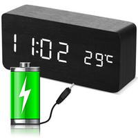 码仕 闹钟锂电充电款智能电子闹钟LED夜光学生充电小闹钟多功能静音木头床头钟XD-01黑木白显蓄电款
