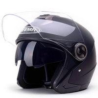 野马(YEMA)623摩托车头盔男女士夏季机车安全帽双镜片电动车半盔 四季 均码 亚黑配防雾镜片