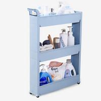 帅力 收纳架 塑料浴室厨房带轮整理置物架子 冰箱夹缝柜 三层马卡龙蓝色SL17096C