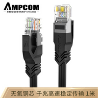 安普康(AMPCOM)六类千兆网线1米 CAT6类成品网络跳线RJ45无氧铜双绞线 电脑宽带网络线 AMC6BK71810黑色