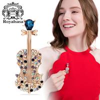 皇家莎莎(Royalsasa)胸针女胸花别针仿水晶时尚创意小提琴外套开衫首饰配饰品 混色