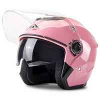 IBK605 粉色 电动摩托车头盔男冬季保暖防寒防雾 电瓶车头盔女士半覆式四季安全帽冬盔双镜片均码
