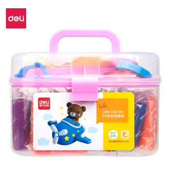 得力(deli)24色儿童玩具彩泥  多模具橡皮泥手工玩具套装 粉色7021