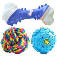 派乐特 宠物狗玩具狗狗金毛泰迪互动磨牙解闷耐咬狗玩具3件套颜色随机