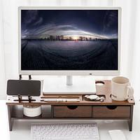 倍方 电脑显示器增高架 小鹿双抽屉款胡桃木色 键盘收纳架 电脑支架 置物架 电脑底座 显示器支架 显示器底座