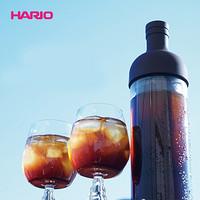 HARIO日本冷萃咖啡壶日本原装进口耐热玻璃冷泡咖啡壶欧式带滤网咖啡壶  咖啡色650ml