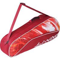 李宁(LI-NING)3支装羽毛球拍包拍包羽毛球包运动休闲背包旅游包羽毛球拍包 红色 ABJP062-1