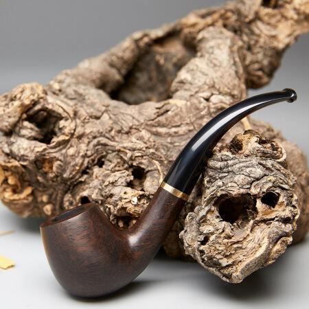 若烟 烟斗黑檀实木 便携过滤烟丝斗烟嘴烟具男士礼品 木纹色免漆光面加金属圈(送配件) RY1015