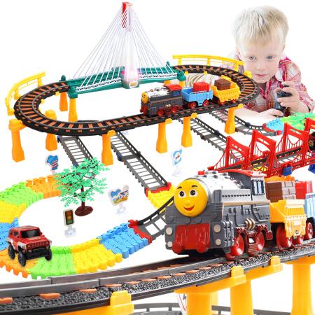 益米 儿童玩具男孩轨道车玩具车小火车头套装 赛车轨道汽车 双层灯光轨道