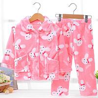 移动专享:oubixiong 欧比熊 加厚法兰绒儿童睡衣 70-80cm