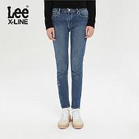 LeeX-LINE秋冬女433蓝色洗水logo刺绣修身显瘦牛仔裤LWS4332EX54W