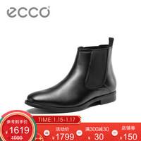 ECCO爱步英伦时尚男士短靴2019年秋冬新款切尔西靴圆头皮靴 墨本621754 黑色62175401001 40