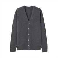 无印良品 MUJI 男式 牦牛绒混羊毛 开衫 深灰色 XL