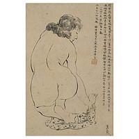 《 侧望》潘玉良|德国中性纸水墨|25 x 39 cm
