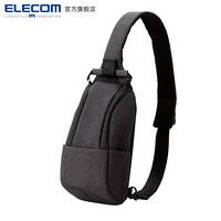 宜丽客(ELECOM)单肩包挎包多功能休闲运动摄影小胸包斜跨背包男女包 黑色