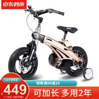 【可加长】健儿(jianer)儿童自行车男女小孩单车12/14/16寸 概念豪华款-香槟金(折叠车把双碟刹) 14寸