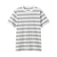 无印良品 MUJI 男式 印度棉天竺编织 粗条纹短袖T恤 灰色X横条 M
