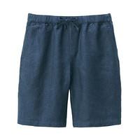 无印良品 MUJI 男式 法国亚麻 短裤 海军蓝 M