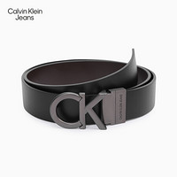 CK JEANS 2020秋冬新款 男士可翻转双面扣孔腰带 HC0593H3600 001-黑色 90cm