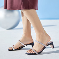 百丽星辰仙女凉拖女2020夏商场新款粗跟一字带水晶拖鞋3QU32BT0