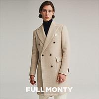 FULL MONTY秋冬新品人字纹双排戗驳领polocoat马球厚大衣男士外套
