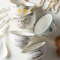 饭碗家用陶瓷碗小汤碗单个瓷碗日式创意米碗吃饭碗碟套装北欧餐具