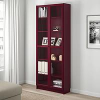 IKEA 宜家 BILLY 毕利 玻璃门书柜 深红色 80*30*202 cm