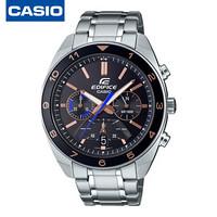 卡西欧(CASIO)手表 EDIFICE系列商务计时防水石英男表时尚腕表 黑盘钢带 EFV-590D-1A