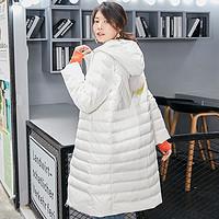 冰洁秋冬中长款连帽羽绒服女韩版个性时尚羽绒修身保暖外套
