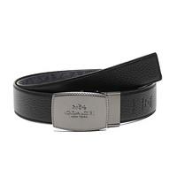 蔻驰 COACH 奢侈品 男士专柜款涂层帆布配皮仿古板扣式双面腰带碳灰色黑色 64084 CQ BK 42