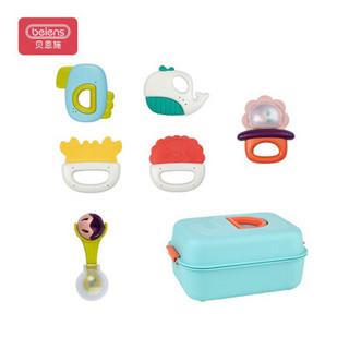 贝恩施婴儿玩具宝宝玩具牙胶手摇铃新生儿安抚玩具可水煮消毒安全摇铃6件套YZ40