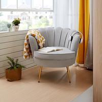 全友家居 北欧轻奢布艺沙发 单人椅子 小户型客厅阳台卧室休闲家具 懒人椅DX106062 花瓣椅A