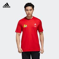 阿迪达斯官网 adidas M PKMN JRSY宝可梦联名男装训练运动短袖T恤GN3001 浅猩红 A/M(175/96A)