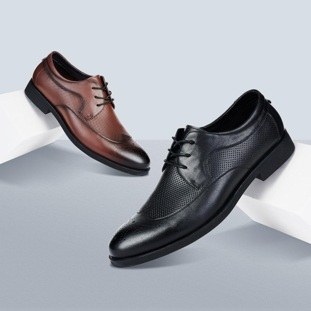 意尔康雕花小牛皮商务皮鞋