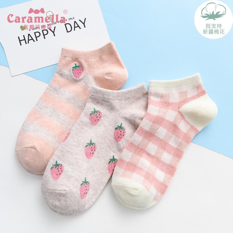 CARAMELLA袜子女短袜浅口春夏船袜可爱日系隐形袜ins潮防滑不掉跟