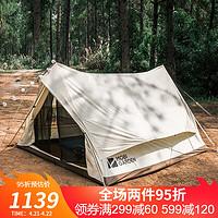 Glamping 牧高笛(MOBIGARDEN)户外轻奢露营大空间加厚棉布帐篷JY150 象牙白