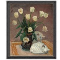 潘玉良静物风景油画《郁金香双猫》68×80cm 爵士黑 油画布 原作版画
