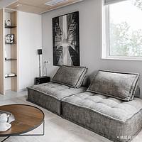 特惠荷兰ASIADES意大利简约皮埃蒙特模块组合方块布艺沙发灰色#