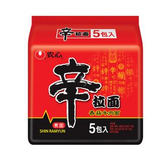 NONGSHIM 农心 辛拉面系列 方便面 香菇牛肉味 120g*5包 袋装