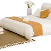 QM 曲美 简约北欧成套家具 棕簧两用床垫+布艺软包双人床 米色 1.8米