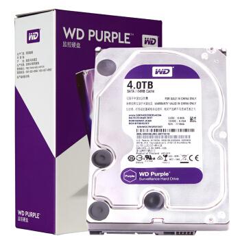 WD 西部数据 紫盘 SATA 64M 监控机械硬盘 4TB (WD40EJRX)