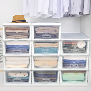 Yeya 也雅 也雅透明塑料收纳柜抽屉式箱盒整理储物柜四层